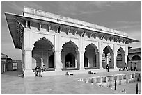 Khas Mahal white marble palace, Agra Fort. Agra, Uttar Pradesh, India (black and white)