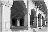 Khas Mahal main pavilion, Agra Fort. Agra, Uttar Pradesh, India (black and white)
