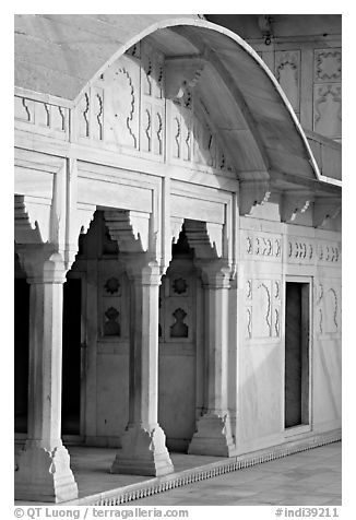 Columns, Khas Mahal, Agra Fort. Agra, Uttar Pradesh, India (black and white)