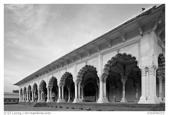 Diwan-i-Am, Agra Fort, late afternoon. Agra, Uttar Pradesh, India (black and white)