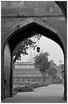 Gate and Moti Masjid in background, Agra Fort. Agra, Uttar Pradesh, India (black and white)