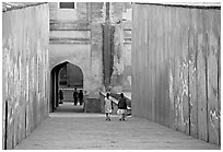 Inside main gate, Agra Fort. Agra, Uttar Pradesh, India (black and white)