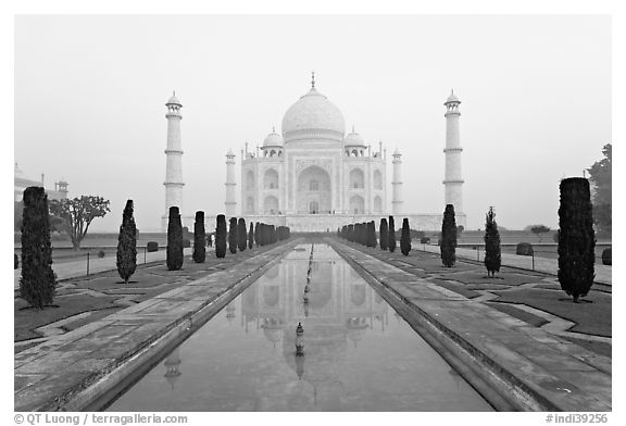 Ornamental gardens and Taj Mahal, sunrise. Agra, Uttar Pradesh, India