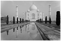 Mughal gardens with watercourse and Taj Mahal. Agra, Uttar Pradesh, India (black and white)