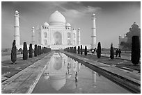 Taj Mahal and reflection, morning. Agra, Uttar Pradesh, India (black and white)