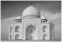 Iwan and side pishtaqs, Taj Mahal. Agra, Uttar Pradesh, India (black and white)