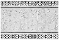 Vegetative motifs on white marble dados, Taj Mahal. Agra, Uttar Pradesh, India (black and white)