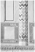 Geometrical motifs, Taj Mahal. Agra, Uttar Pradesh, India (black and white)