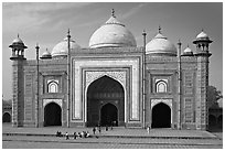 Taj Mahal mosque. Agra, Uttar Pradesh, India (black and white)