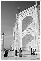 View from platform showing two large stacked pishtaqs, Taj Mahal. Agra, Uttar Pradesh, India (black and white)