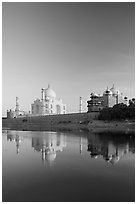Taj Mahal complex reflected in Yamuna River. Agra, Uttar Pradesh, India (black and white)