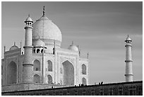 Taj Mahal and minarets, late afternoon. Agra, Uttar Pradesh, India (black and white)