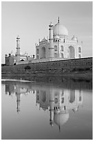 Taj Mahal and Jawab reflected in Yamuna River. Agra, Uttar Pradesh, India (black and white)