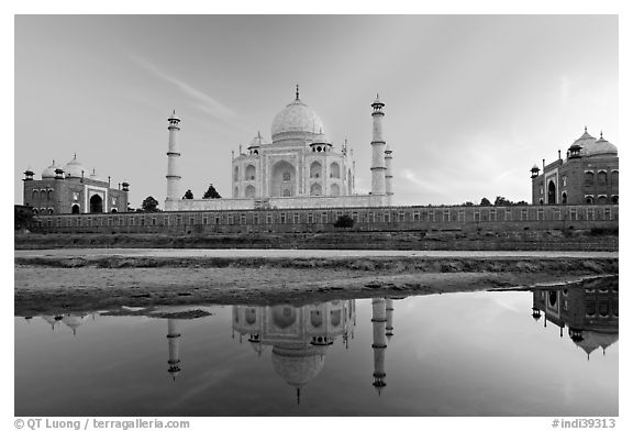Taj Mahal complex seen from  Yamuna River. Agra, Uttar Pradesh, India (black and white)