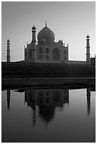 Taj Mahal and Yamuna River at sunset. Agra, Uttar Pradesh, India (black and white)