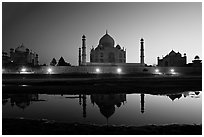 Jawab, Taj Mahal, and Taj Mahal mosque over Yamuna River at dusk. Agra, Uttar Pradesh, India (black and white)