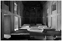 Tombs in the Dargah (Jama Masjid) mosque. Fatehpur Sikri, Uttar Pradesh, India (black and white)