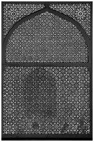 Jali (marble lattice screen) in Shaikh Salim Chishti mausoleum. Fatehpur Sikri, Uttar Pradesh, India ( black and white)