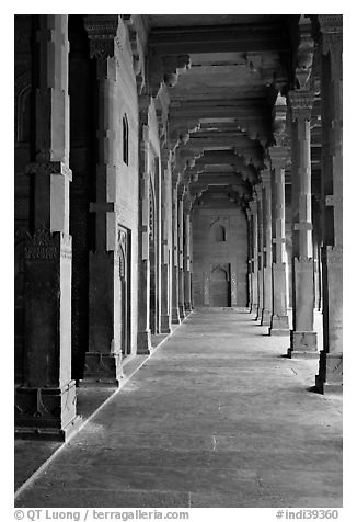 Prayer hall, Dargah (Jama Masjid) mosque. Fatehpur Sikri, Uttar Pradesh, India (black and white)