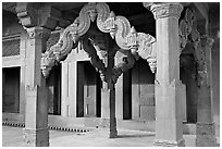 Columns in front of the Treasury building. Fatehpur Sikri, Uttar Pradesh, India (black and white)