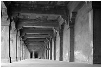 Corridor beneath the Panch Mahal building. Fatehpur Sikri, Uttar Pradesh, India (black and white)