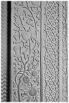 Intricate carvings on the Rumi Sultana building. Fatehpur Sikri, Uttar Pradesh, India (black and white)