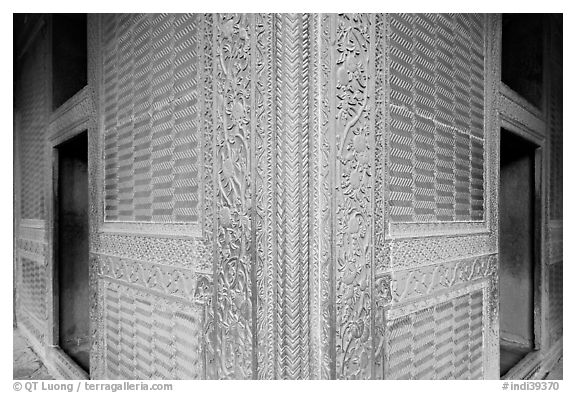 Rumi Sultana, entirely covered with carvings. Fatehpur Sikri, Uttar Pradesh, India (black and white)