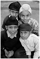 Sikh boys. Bharatpur, Rajasthan, India ( black and white)