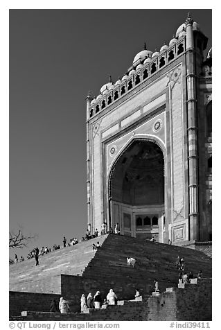 Buland Darwaza (Victory Gate), Asia's largest, Dargah mosque. Fatehpur Sikri, Uttar Pradesh, India (black and white)