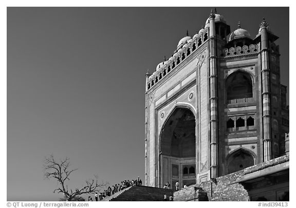 black and white picture photo buland darwaza 54m high victory gate dargah mosque fatehpur. Black Bedroom Furniture Sets. Home Design Ideas