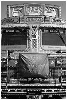 Decorated truck. Fatehpur Sikri, Uttar Pradesh, India ( black and white)