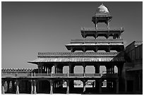 Panch Mahal. Fatehpur Sikri, Uttar Pradesh, India (black and white)