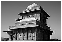 Birbal Bhavan pavilion, afternoon. Fatehpur Sikri, Uttar Pradesh, India (black and white)