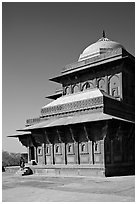 Birbal Bhavan pavilion. Fatehpur Sikri, Uttar Pradesh, India (black and white)