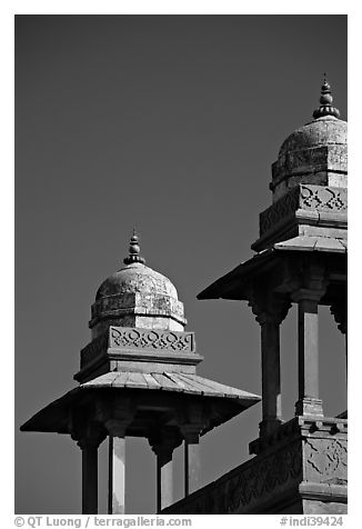 Kiosks. Fatehpur Sikri, Uttar Pradesh, India (black and white)
