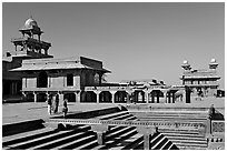 Steps of ornamental pool, Panch Mahal, Diwan-i-Khas, and main courtyard. Fatehpur Sikri, Uttar Pradesh, India (black and white)