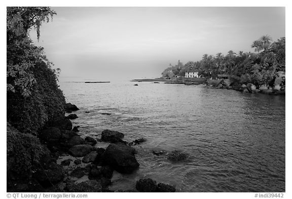 Oceanfront with house and palm trees, Dona Paula. Goa, India (black and white)