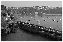 Pier and bay, Dona Paula. Goa, India (black and white)