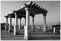 Gazebo and bench, early morning, Dona Paula. Goa, India (black and white)