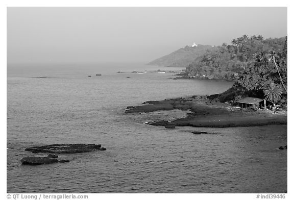 Coastline, palm trees, and clear waters, Dona Paula. Goa, India (black and white)