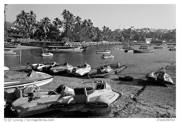 Jetboats, Dona Paula harbor. Goa, India (black and white)
