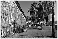 Laundry and beachfront hut, Dona Paula. Goa, India (black and white)
