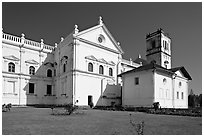Se Cathedral fron the side, Old Goa. Goa, India (black and white)