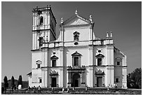 Se Cathedral facade in Tuscan style, Old Goa. Goa, India ( black and white)