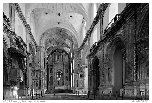 Church of St Francis of Assisi interior, Old Goa. Goa, India (black and white)