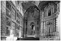 Murals and altars, Church of St Francis of Assisi, Old Goa. Goa, India ( black and white)
