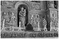 Detail of gilded and carved woodwork, Church of St Francis of Assisi, Old Goa. Goa, India (black and white)