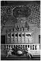 Tomb of St Francis Xavier, Basilica of Bom Jesus, Old Goa. Goa, India ( black and white)