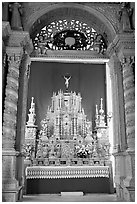 Richly decorated altar, Basilica of Bom Jesus, Old Goa. Goa, India (black and white)