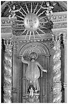 Richly guilded  main altar, Basilica of Bom Jesus, Old Goa. Goa, India ( black and white)